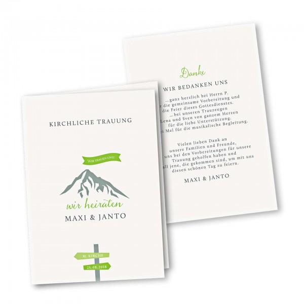 Kirchenheft 4 Seiter – Klappkarte DIN-A5 Kartendesign Hochzeitsfeier in den Bergen