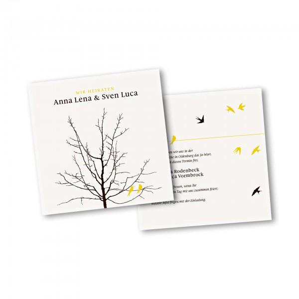 Save the Date Karte – 2-Seiter quadratisch Kartendesign Verliebte Vögel im Baum Version 2