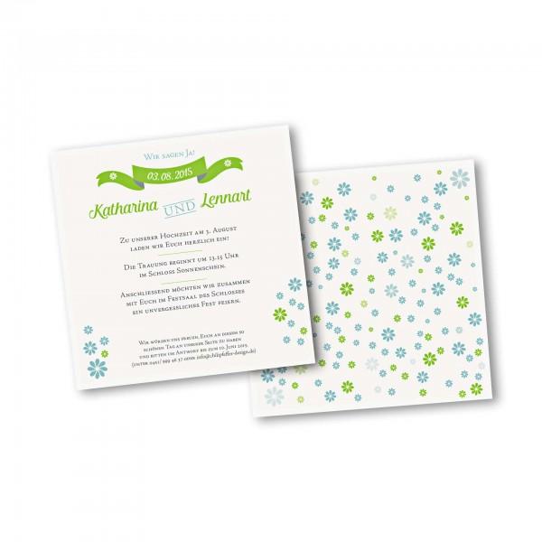 Save the Date Karte – 2-Seiter quadratisch Kartendesign Verspielte Blumen
