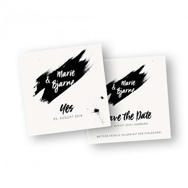 Save the Date Karte – 2-Seiter flache Karte quadratisch mit dem Kartendesign Freche Tupfen