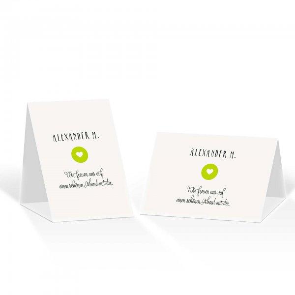 Platzkarte Aufsteller A6 – Kartendesign Reduzierte Hochzeitskarte mit Kreis