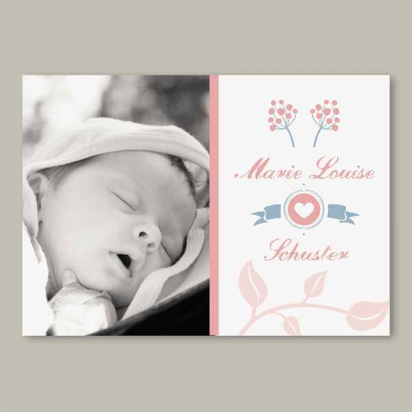 Geburtskarte – Klappkarte – 4-Seiter Klappkarte zur Geburt in der Größe DIN-A6 Querformat mit dem Design Marie-Louise