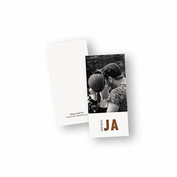 Einladungskarten – Klappkarte – DIN-lang im Hochformat mit Kopffalz mit dem Design JA - wir heiraten