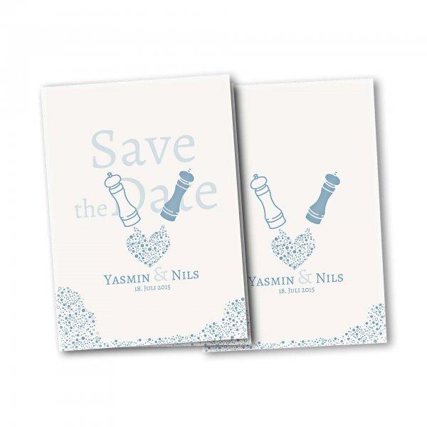 Einladungskarte – 4-Seiter DIN-A5 Kartendesign Wie Salz und Pfeffer Version 2