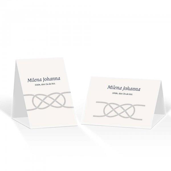 Platzkarte Aufsteller A6 – Kartendesign Kreuzknoten - maritime Hochzeitskarte
