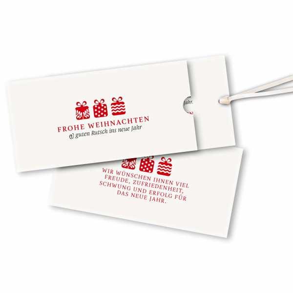 Weihnachtskarte – Schuberkarte DIN-lang mit Satinband Weihnachtsgeschenke rot