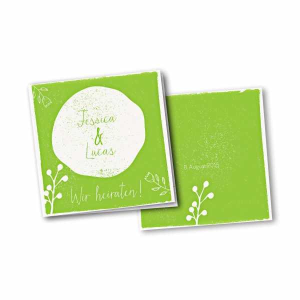 Einladungskarte – 4-Seiter quadratisch Kartendesign Retro Hochzeit Version 2