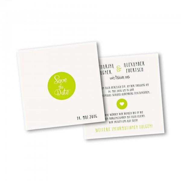 Save the Date Karte – 2-Seiter quadratisch Kartendesign Reduzierte Hochzeitskarte mit Kreis