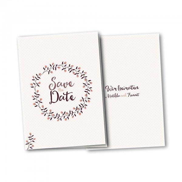 Einladungskarte – 4-Seiter DIN-A5 Kartendesign Save the Date - Blumenkranz