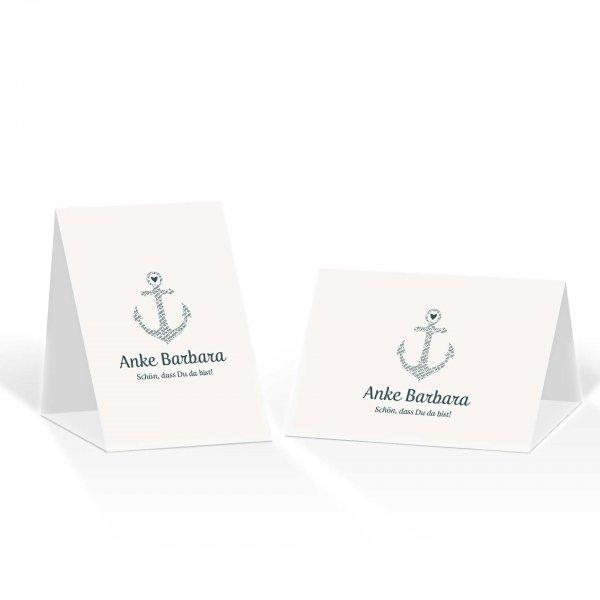 Platzkarte Aufsteller A6 – Kartendesign Anker kombiniert mit Typografie Version 1